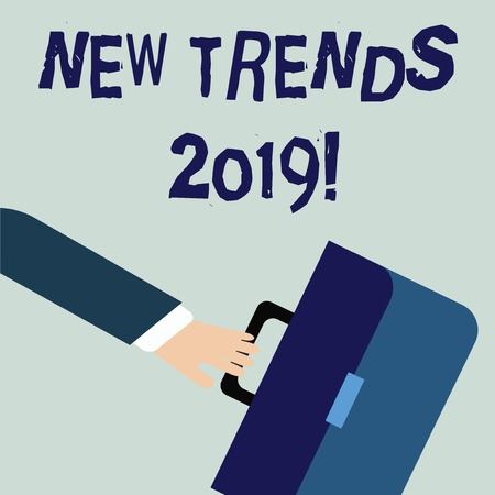 Writing note showing New Trends 2019. Business concept for general direction in which something is developing Rushing Businessman Swayed Farther Back and Holding Briefcase