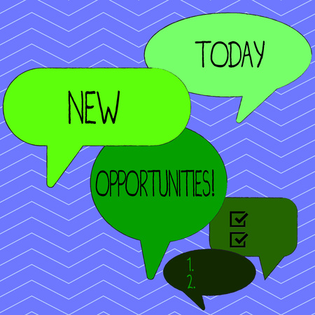 Word writing text New Opportunities. Business photo showcasing exchange views condition favorable for attainment goal Many Color Speech Bubble in Different Sizes and Shade for Group Discussion 스톡 콘텐츠