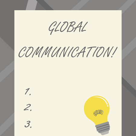 Word writing text Global Communication. Business photo showcasing ways to connect and mobilize across geographic Incandescent Light Bulb with Filament Inside Resting on Blank Color Paper