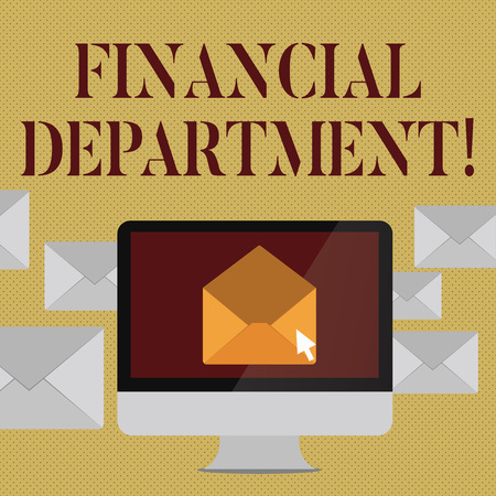 Writing note showing Financial Department. Business concept for part of an organization that analysisages its money Open Envelope inside Computer Letter Casing Surrounds the PC