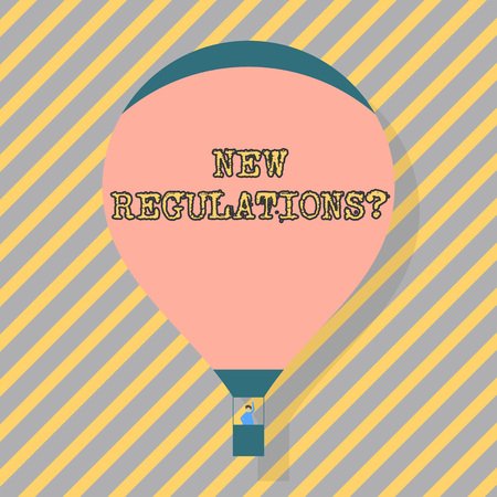 Text sign showing New Regulations question. Business photo text rules made government order to control way something is done Blank Pink Hot Air Balloon Floating with One Passenger Waving From Gondola