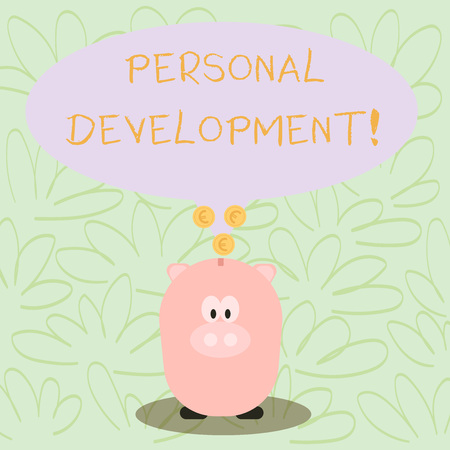 Writing note showing Personal Development. Business concept for process of improving oneself through activities Speech Bubble with Coins on its Tail Pointing to Piggy Bank Фото со стока