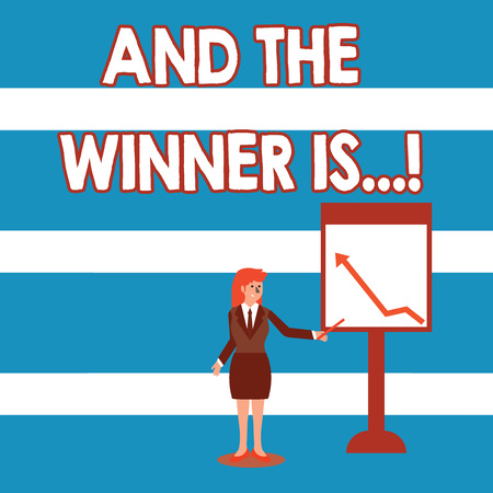 Text sign showing And The Winner Is. Business photo text announcing who got first place at competition or exam Businesswoman Holding Stick Pointing to Chart of Arrow Upward on Whiteboard Stockfoto