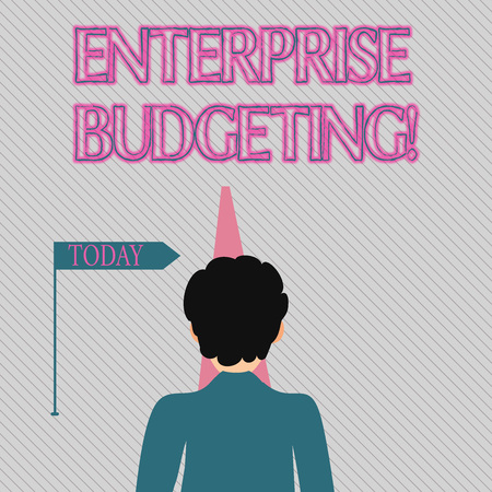 Text sign showing Enterprise Budgeting. Business photo text estimated income and expenses associated in business Man Facing the Distance Ahead and Blocking the View of Straight Narrow Path Stockfoto