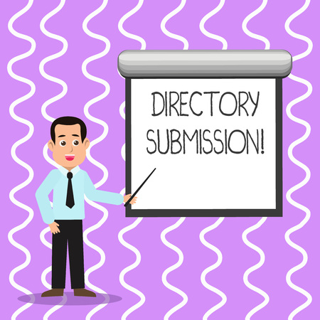 Conceptual hand writing showing Directory Submission. Concept meaning main source to increase backlinks for your website Man in Necktie Holding Stick Pointing White Screen on Wall Фото со стока