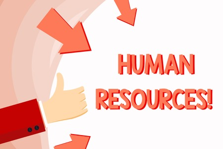 Handwriting text Human Resources. Conceptual photo the process of hiring and developing employees Hand Gesturing Thumbs Up and Holding on Blank Space Round Shape with Arrows Фото со стока