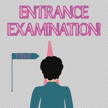 Text sign showing Entrance Examination. Business photo text an exam that you take to be accepted into a school Man Facing the Distance Ahead and Blocking the View of Straight Narrow Path