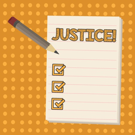 Conceptual hand writing showing Justice. Concept meaning impartial adjustment of conflicting claims or assignments Pencil with Eraser and Pad on Two Toned Polka Dot Background