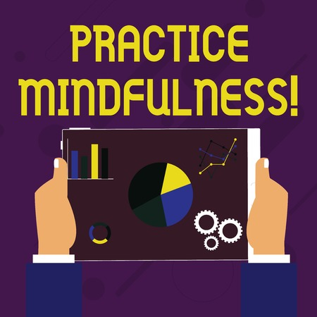 Writing note showing Practice Mindfulness. Business concept for paying attention to sensations without judgment Hands Holding Tablet with Search Engine Optimization on the Screen Standard-Bild