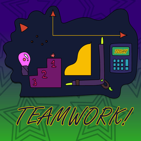 Writing note showing Teamwork. Business concept for combined action of group especially when effective and efficient Set of Goal Icons for Planning, Advancement and Recognition