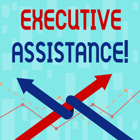 Writing note showing Executive Assistance. Business concept for focus on providing highlevel administrative support Two Arrows One Intertwined to Other Team Up or Competition 版權商用圖片