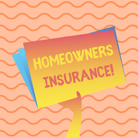 Word writing text Homeowners Insurance. Business photo showcasing Covers losses and damages to an individual s is house Hand Holding and Raising Blank Space Colorful File Folder with Sheet Inside Stock Photo