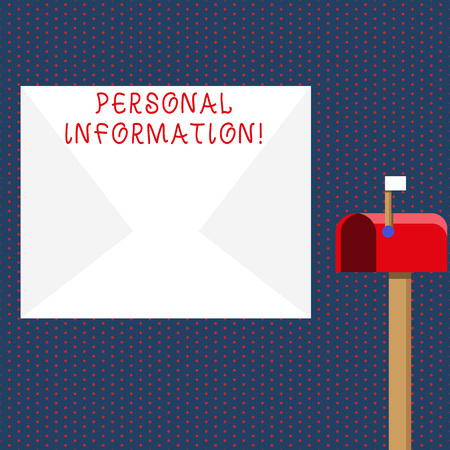 Conceptual hand writing showing Personal Information. Concept meaning recorded information about an identifiable individual White Envelope and Red Mailbox with Small Flag Up Signalling
