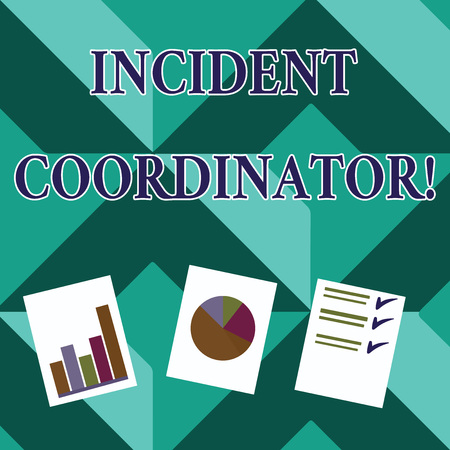 Word writing text Incident Coordinator. Business photo showcasing responsible for the integrity of the Incident Presentation of Bar, Data and Pie Chart Diagram Graph Each on White Paper