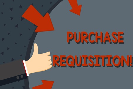 Text sign showing Purchase Requisition. Business photo text document used as part of the accounting process Hand Gesturing Thumbs Up and Holding on Blank Space Round Shape with Arrows Stock Photo - 121095766