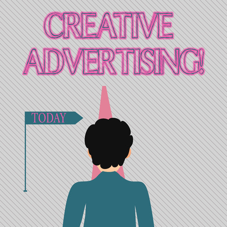 Text sign showing Creative Advertising. Business photo text advertising ideas and brings those ideas into being Man Facing the Distance Ahead and Blocking the View of Straight Narrow Path