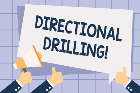 Writing note showing Directional Drilling. Business concept for drilling for oil which the well not drilled vertically Hand Holding Megaphone and Gesturing Thumbs Up Text Balloon