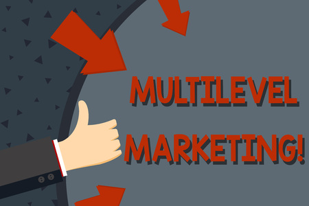 Text sign showing Multilevel Marketing. Business photo text marketing strategy for the sale of products or services Hand Gesturing Thumbs Up and Holding on Blank Space Round Shape with Arrows