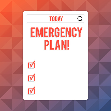 Text sign showing Emergency Plan. Business photo text actions developed to mitigate damage of potential events Search Bar with Magnifying Glass Icon photo on Blank Vertical White Screen