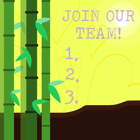 Conceptual hand writing showing Join Our Team. Concept meaning inviting someone into your local group or company Colorful Set of Leafy Bamboo and Moon or Sun with Round Beam