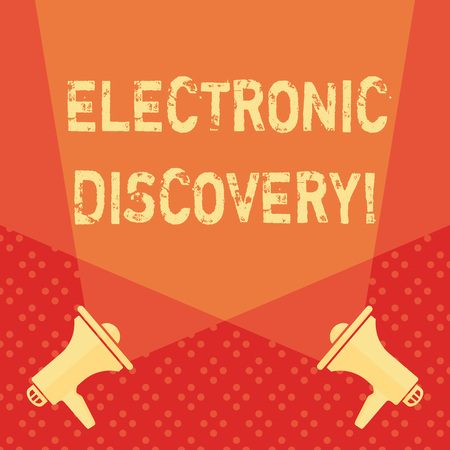 Word writing text Electronic Discovery. Business photo showcasing discovery in legal proceedings such as litigation Blank Double Spotlight Crisscrossing Upward from Two Megaphones on the Floor