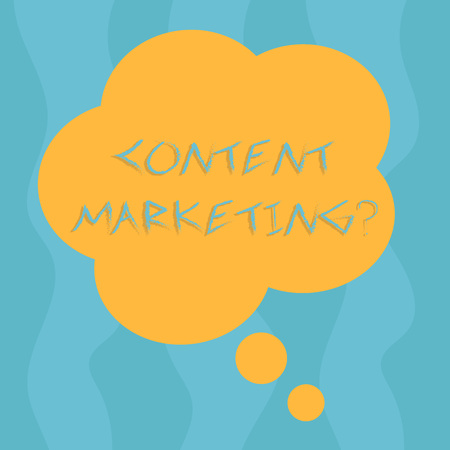 Conceptual hand writing showing Content Marketing question. Concept meaning involves creation and sharing of online material Floral Shape Thought Speech Bubble for Presentation Ads Imagens