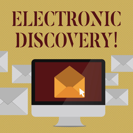 Writing note showing Electronic Discovery. Business concept for discovery in legal proceedings such as litigation Open Envelope inside Computer Letter Casing Surrounds the PC