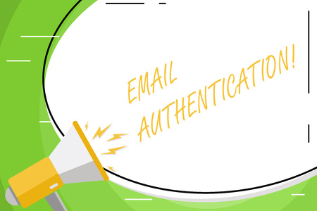 Text sign showing Email Authentication. Business photo showcasing used to block harmful or fraudulent uses of email Blank White Huge Oval Shape Sticker and Megaphone Shouting with Volume Icon Фото со стока