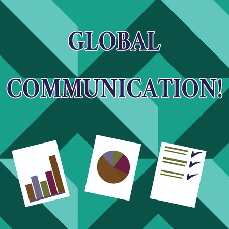 Word writing text Global Communication. Business photo showcasing ways to connect and mobilize across geographic Presentation of Bar, Data and Pie Chart Diagram Graph Each on White Paper