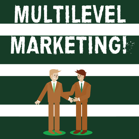 Conceptual hand writing showing Multilevel Marketing. Concept meaning marketing strategy for the sale of products or services Businessmen Smiling and Greeting each other by Handshaking