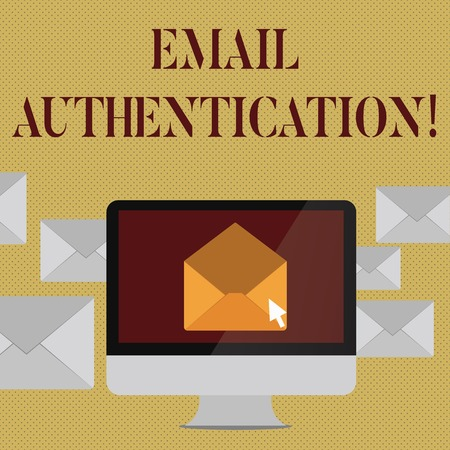 Writing note showing Email Authentication. Business concept for used to block harmful or fraudulent uses of email Open Envelope inside Computer Letter Casing Surrounds the PC Imagens