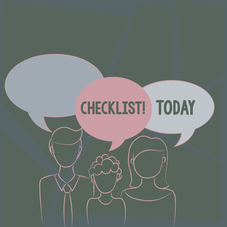 Text sign showing Checklist. Business photo text list items required things be done or points considered Family of One Child Between Father and Mother and Their Own Speech Bubble