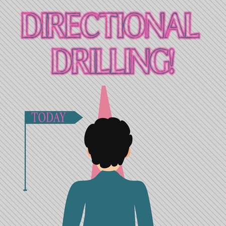 Text sign showing Directional Drilling. Business photo text drilling for oil which the well not drilled vertically Man Facing the Distance Ahead and Blocking the View of Straight Narrow Path