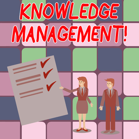 Word writing text Knowledge Management. Business photo showcasing efficient handling of information and resources Man and Woman in Business Suit Presenting Report of Check and Lines on Paper