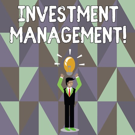 Word writing text Investment Management. Business photo showcasing analysisagement of investments for a financial institution Businessman Standing Raising Arms Upward with Lighted Bulb Icon on his Head Stock Photo