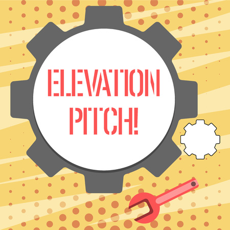 Conceptual hand writing showing Elevator Pitch. Concept meaning short description of product business idea given to investor Wheel Gear and Wrench Mechanical Tool for SEO and Web Icon Stock Photo