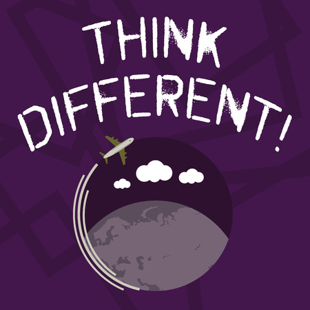 Text sign showing Think Different. Business photo showcasing direct ones mind towards someone or something uniquely Airplane with Moving Icon Flying Around Colorful Globe and Blank Text Space