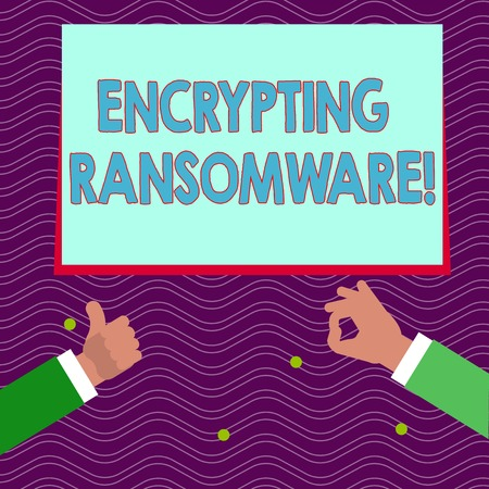 Text sign showing Encrypting Ransomware. Business photo text malware that limits users from accessing their system Two Businessmen Hands Gesturing the Thumbs Up and Okay Sign for Promotion