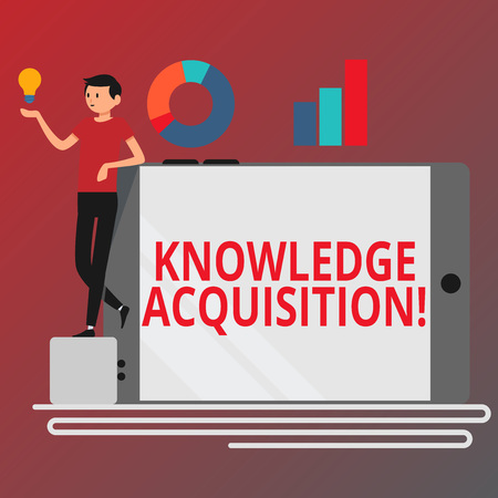 Conceptual hand writing showing Knowledge Acquisition. Concept meaning process of extracting knowledge from one source Man Leaning on Smartphone Turned on Side Graph and Idea Icon 写真素材