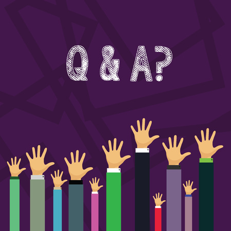 Handwriting text Q And A Question. Conceptual photo in which demonstrating asks questions and another one answers them Hands of Several Businessmen Raising Up Above the Head, Palm Facing Front
