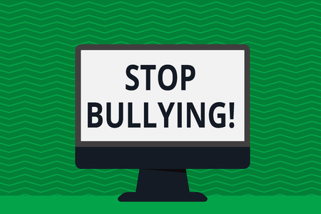 Writing note showing Stop Bullying. Business concept for no aggressive behavior among children power imbalance Desktop Computer Colorful Monitor Screen Freestanding Table