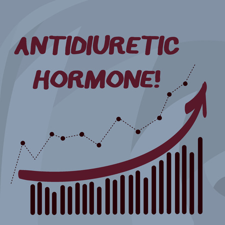 Handwriting text Antidiuretic Hormone. Conceptual photo peptide molecule that is release by the pituitary gland Combination of Colorful Column and Line Graphic Chart with Arrow Going Up