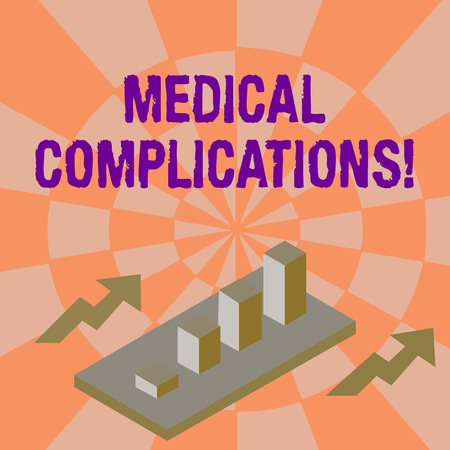 Word writing text Medical Complications. Business photo showcasing unfavorable evolution or consequence of a disease Colorful Clustered 3D Bar Chart Graph Diagram in Perspective with Two Arrows