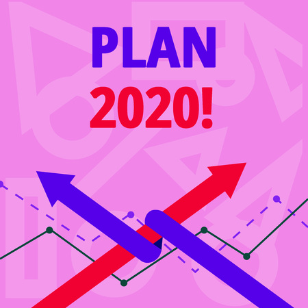 Handwriting text writing Plan 2020. Conceptual photo detailed proposal doing achieving something next year Two Arrows where One is Intertwined to the other as Team Up or Competition