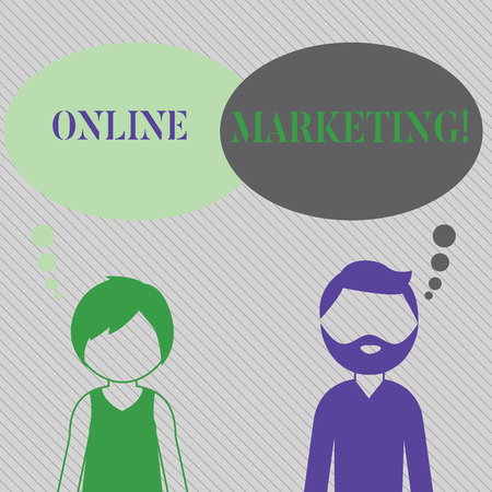 Text sign showing Online Marketing. Business photo showcasing leveraging web based channels spread about companys brand Bearded Man and Woman Faceless Profile with Blank Colorful Thought Bubble