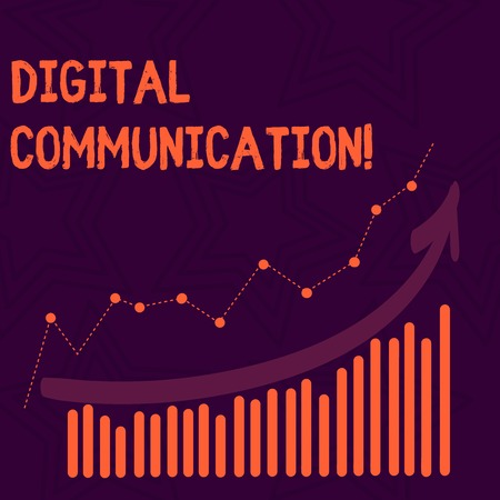 Text sign showing Digital Communication. Business photo text exchange of data that transmits in a digital form Combination of Colorful Column and Line Graphic Chart with Arrow Going Up 免版税图像