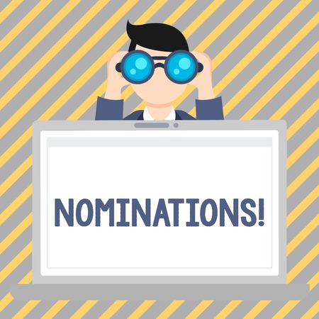 Text sign showing Nominations. Business photo showcasing action of nominating or state being nominated for prize Man Holding and Looking into Binocular Behind Open Blank Space Laptop Screen Stock Photo