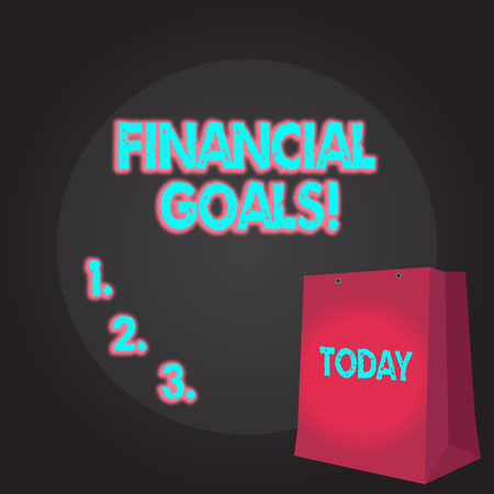 Writing note showing Financial Goals. Business concept for targets usually driven by specific future financial needs Color Gift Bag with Punched Hole on Two toned Blank Space