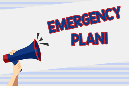 Writing note showing Emergency Plan. Business concept for actions developed to mitigate damage of potential events Human Hand Holding Megaphone with Sound Icon and Text Space Imagens