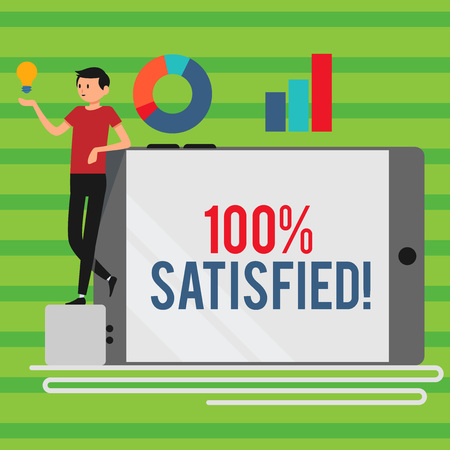 Word writing text 100 Percent Satisfied. Business photo showcasing Products and services surpass customer expectation Man Leaning on Blank Smartphone Turned on Its Side with Graph and Idea Icon Stok Fotoğraf